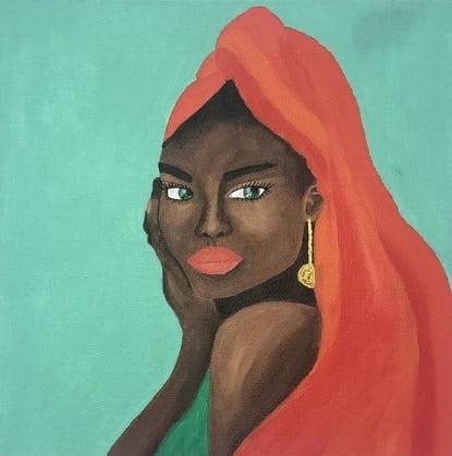 es una pintura realista de africanas de carmen d