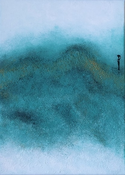 Cuadro pintado a mano de la artista Carmen D abstracto expresionista en el que está la gama de colores de blancos, plata, azules, orientado al cosmos y al universo, pintado con acrílicos liquitex y golden sobre lienzo de lino