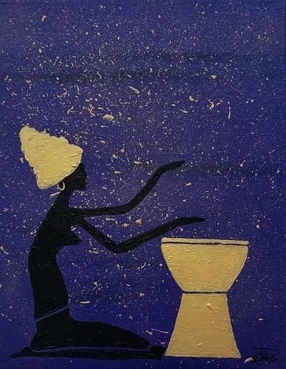 Cuadro pintado a mano de la artista Carmen D de la silueta de una africana con un turbante arriba en la cabeza, de color negro sobre fondo como de la sabana africana por la noche, violeta, morado y dorado, pintado con acrílicos liquitex y golden sobre lienzo de lino