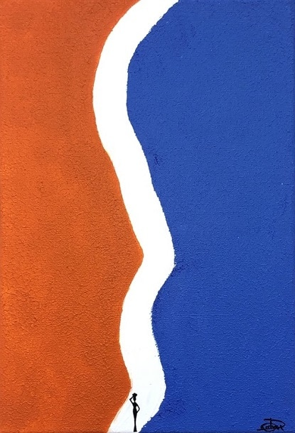 Cuadro pintado a mano de la artista Carmen D abstracto expresionista en el que está la gama de colores de azules, naranjas y blancos con una silueta en pequeño de una africana que está en el comienzo de un estrecho camino, orientado al cosmos y al universo, pintado con acrílicos liquitex y golden sobre lienzo de lino