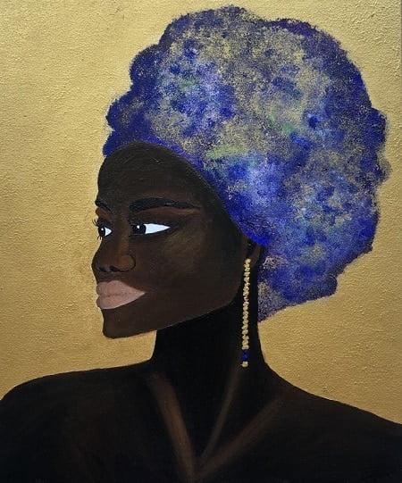 es una pintura de la artista zaragozana carmen d de la que puedes comprar cuadros de retratos de negras africanas con turbante azul pendientes y fondos dorados.