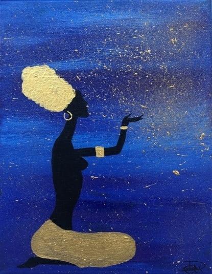 Cuadro pintado a mano de la artista Carmen D de la silueta de una africana con un turbante arriba en la cabeza, de color negro sobre fondo como de la sabana africana por la noche, azul, violeta, morado y dorado, pintado con acrílicos liquitex y golden sobre lienzo de lino