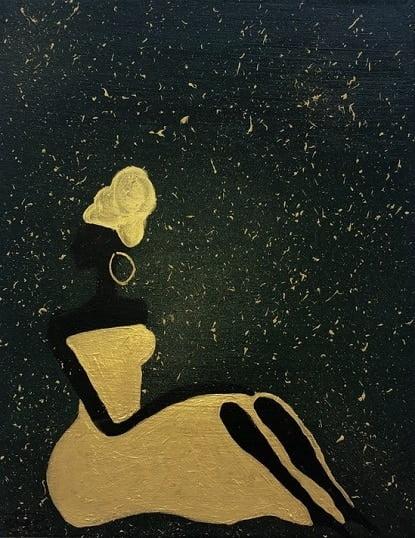 Cuadro pintado a mano de la artista Carmen D de la silueta de una africana con un turbante arriba en la cabeza, de color negro sobre fondo como de la sabana africana por la noche, verde oscuro y dorado, pintado con acrílicos liquitex y golden sobre lienzo de lino