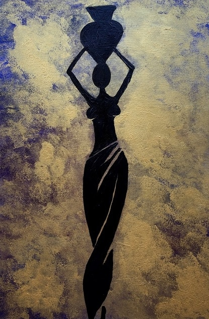 Cuadro pintado a mano de la artista Carmen D de la silueta de una africana con una vasija arriba en la cabeza, de color negro sobre fondo dorado y azulado, pintado con acrílicos liquitex y golden sobre lienzo de lino