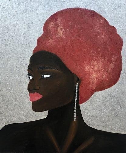 Cuadro pintado a mano de la artista Carmen D de una africana con turbante rojo y pendiente largo de perlas color plata pintado con acrílicos liquitex y golden sobre lienzo de lino