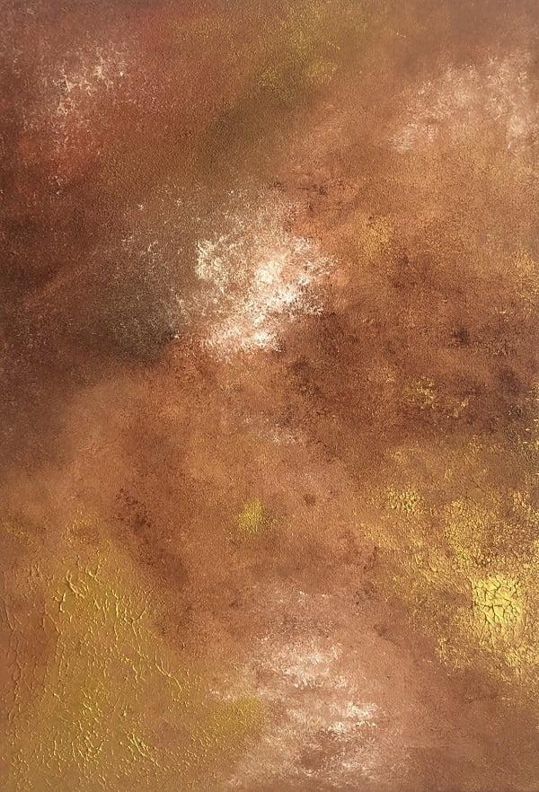Cuadro pintado a mano de la artista Carmen D abstracto expresionista en el que está la gama de colores de plata, azules, dorados, orientado al cosmos y al universo, al cielo oscuro pintado con acrílicos liquitex y golden sobre lienzo de lino