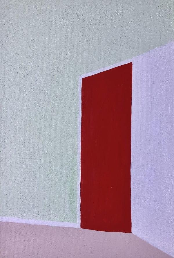 Cuadro pintado a mano de la artista Carmen D abstracto expresionista en el que está representada una puerta, con matices geométricos, de color rojo la puerta y color verde menta la pared el suelo rosa y otra pared blanca, pintado con acrílicos liquitex y golden sobre lienzo, de lino