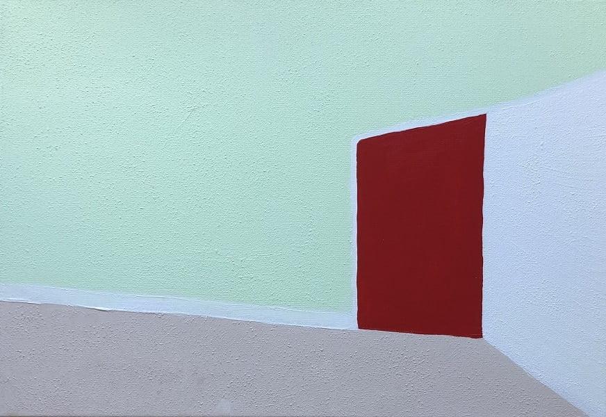 Cuadro pintado a mano de la artista Carmen D abstracto expresionista en el que está representada una puerta, con matices geométricos, de color rojo la puerta y color verde menta la pared el suelo rosa y otra pared blanca, pintado con acrílicos liquitex y golden sobre lienzo, de lino con la puerta horizontal