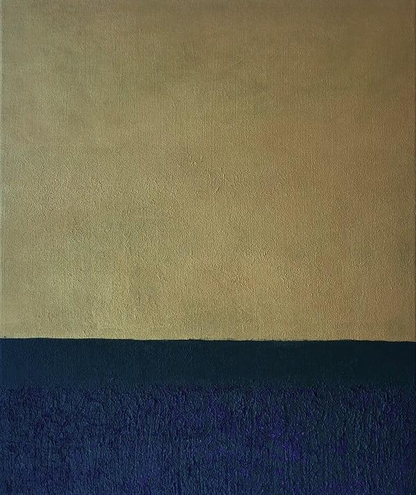 Cuadro pintado a mano de la artista Carmen D abstracto expresionista en el que está representada una puerta, con matices geométricos, de color oro, negros, verdes oscuros pintado con acrílicos liquitex y golden sobre lienzo, de lino.