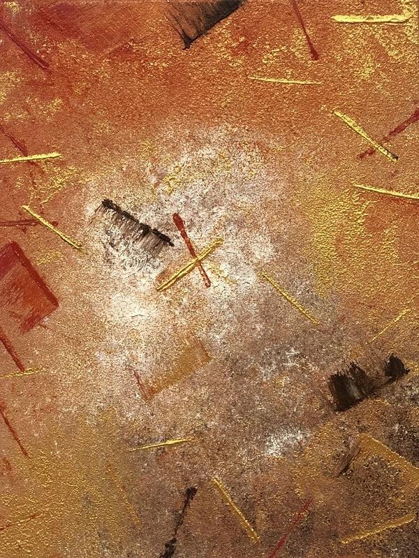 Cuadro pintado a mano de la artista Carmen D abstracto expresionista en el que está la gama de colores de naranjas, marrones, blancos, pintado con acrílicos liquitex y golden sobre lienzo de lino